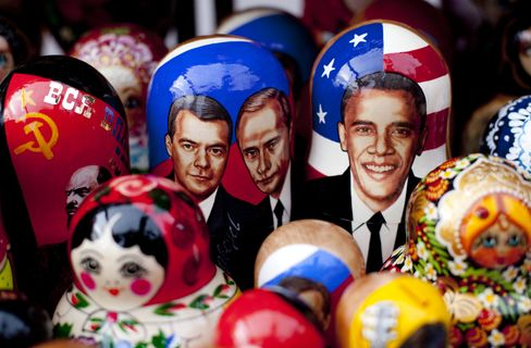 Obama, Medvedev and Putin on Matryoshka dolls
