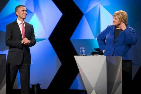 Norway's PM Jens Stoltenberg & Opposition Leader Erna Solberg
