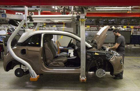 An Employee Works on an Adam Opel AG Automobile