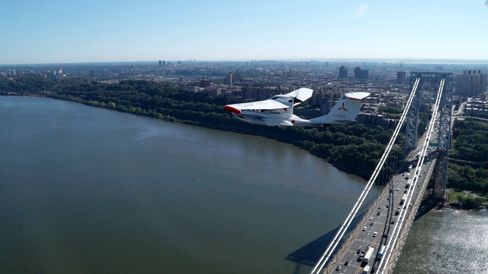 Cruising 1,000 feet over the George Washington Bridge during our NYC test flight.