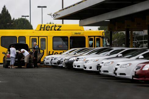 Hertz Global Holdings Inc. Rental Cars Sit in Los Angeles