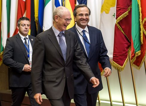 Greece's Prime Minister Antonis Samaras  and EU President Herman