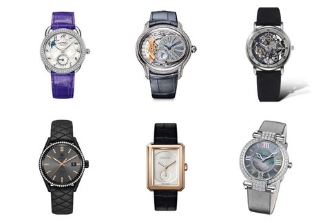 Clockwise from top left: Hermès Arceau Petite Lune with diamonds, Audemars Piguet Millenary, Claude Meylan Lionne Sheherazade, Chopard Imperiale 36mm Joaillerie, Chanel Boy∙Friend Beige Gold, TAG Heuer Carrera Cara Delevigne