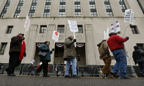 Protesters March Outside the Theodore Levin U.S. Courthouse
