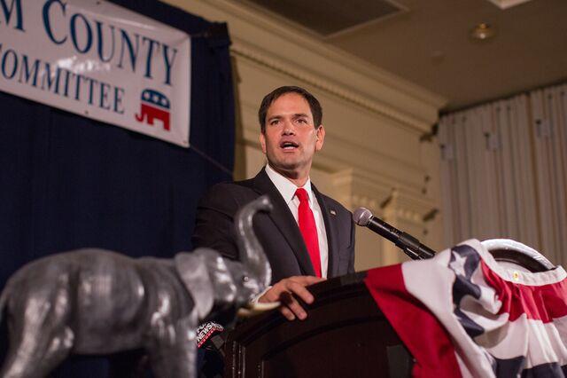 Wonk Rubio or populist Rubio? You never know.Photographer: Scott Eisen/Getty Images