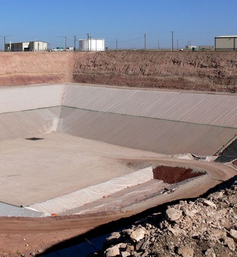 Waste Control Specialists LCC's concrete-reinforced compact disposal facility in Texas. Source: Waste Control Specialists