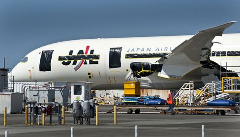 A Japan Airlines Co. Boeing Co. 787 Dreamliner stands at the company's facility in Everett, Washington, U.S., on Aug. 6, 2011. Photographer: Stuart Isett/Bloomberg