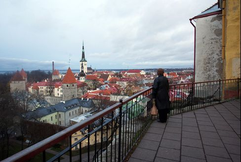 A Visitor Looks Over the Old Town in Tallinn