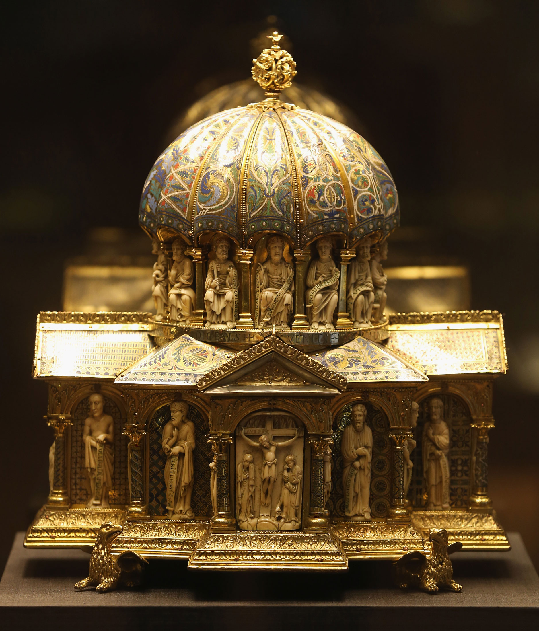 The 12th century dome reliquary of the Guelph Treasure stands on display at the Museum of Decorative Arts in Berlin on Feb. 26, 2015.