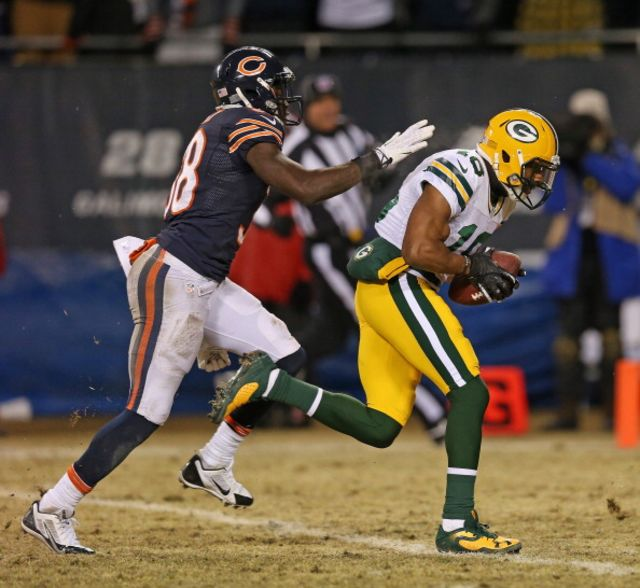Randall Cobb ended the Bears' season in a flash. Let's hope the idea of expanding Soldier Field disappears as quickly. Photographer: Jonathan Daniel/Getty Images.