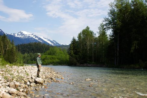 The author surveys a pool for steelhead, two hours north of Terrace, B.C. Calmer water and shaded banks provide ideal fishing conditions.