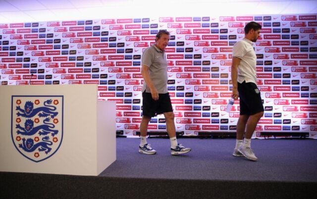 England manager Roy Hodgson and captain Steven Gerrard, heading home sooner than planned.