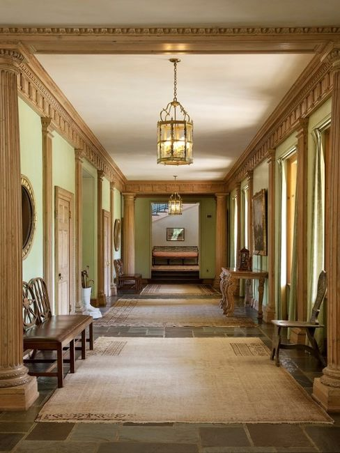 A hallway at 2500 East Valley Road in Santa Barbara. The 12-bed, 11.5-bath mansion is listed for $125 million.