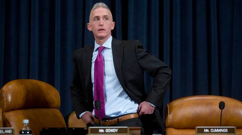Representative Trey Gowdy, a Republican from South Carolina and chairman of the House Select Committee on Benghazi, arrives to a hearing where Hillary Clinton would testify in Washington on Oct. 22, 2015.