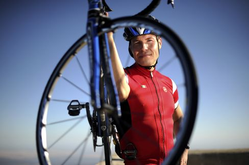 Sami Inkinen, co-founder of Trulia Inc., stands for a photo with his bicycle after completing the Mount Diablo Challenge near Danville, California. Photographer: Noah Berger/Bloomberg
