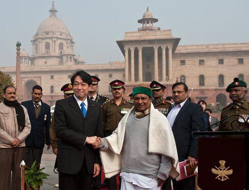 Japan's Defense Minister Itsunori Onodera & India's A.K. Antony