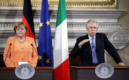 Merkel, Monti Clash on ESM Bank License in Euro Crisis Talks
