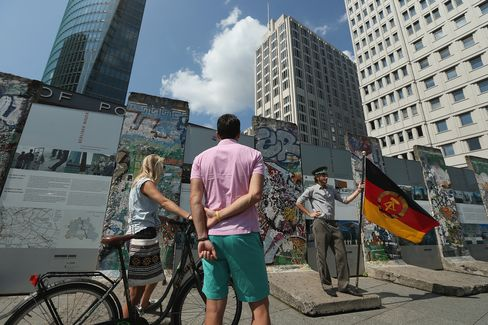 Tourists Visit the Site of the Former Berlin Wall