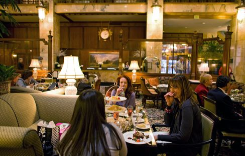 Traditional afternoon tea at The Brown Palace Hotel and Spa in Denver. Photographer: Matthew Staver/Bloomberg