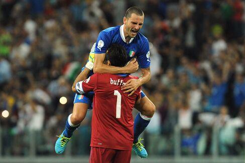 Italy's Giorgio Chiellini and Gianluigi Buffon Celebrate