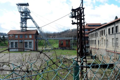 A former coal mine stands in Saint-Etienne