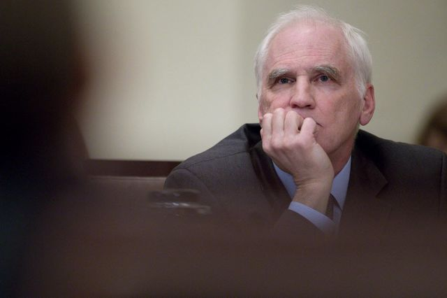 Daniel Tarullo ponders leverage.Photographer: Andrew Harrer/Bloomberg