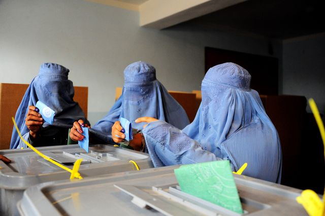 Afghan voters were not deterred by the Taliban from flocking to the polls. Photographer: Aref Karimi/AFP/Getty Images