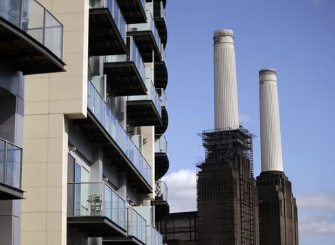Apartment Balconies Sit in front of Battersea Power Station