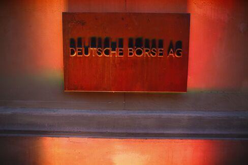 Deutsche Boerse sign at the Frankfurt Stock Exchange