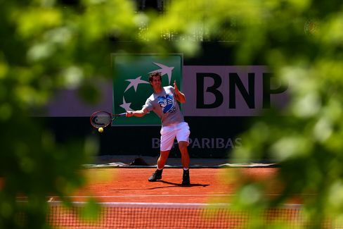 Andy Murray During a Practice Session at Roland Garros