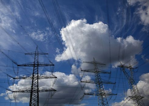 Electricity Pylons Stand Near RWE Power Plant