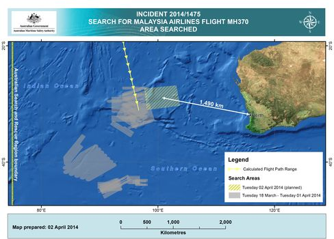 Australian Maritime Safety Authority's Search Areas