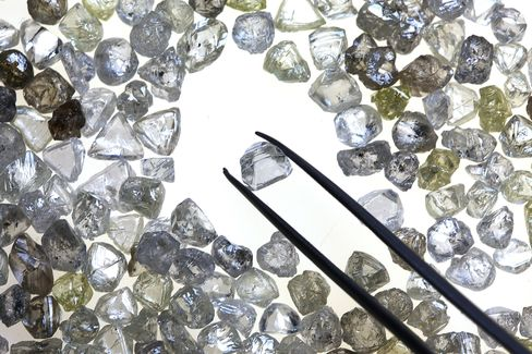 Uncut Diamonds Sit On A Sorting Table