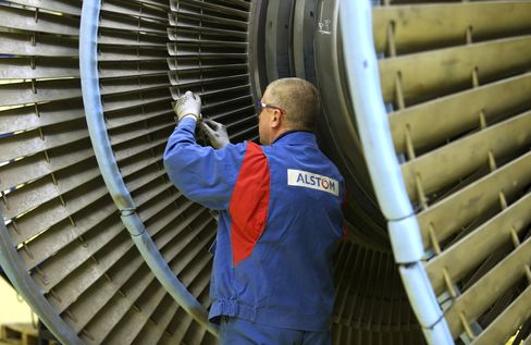 Alstom Employee Works on a Turbine in Rugby