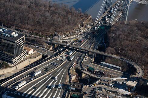 Vehicles Travel Over the George Washington Bridge