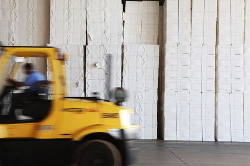 Bales of Cellulose are Stacked at the Fibria Celulose Plant