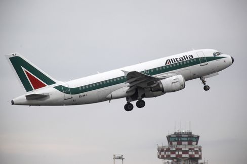 An Alitalia Aircraft Takes Off at Fiumicino Airport in Rome