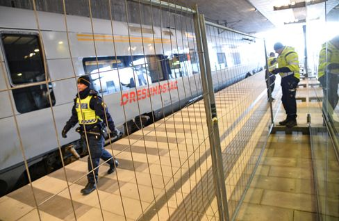 A temporary fence is erected between domestic and international tracks at Hyllie rail station in southern Malmo, Sweden, on Jan. 3, 2016.
