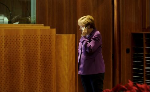 Angela Merkel, Germany's chancellor. Photographer: Jock Fistick/Bloomberg