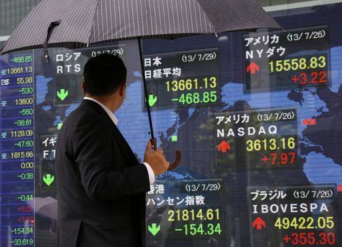 Asia Stocks Fall Ahead of Fed Statement, Paring Monthly Increase