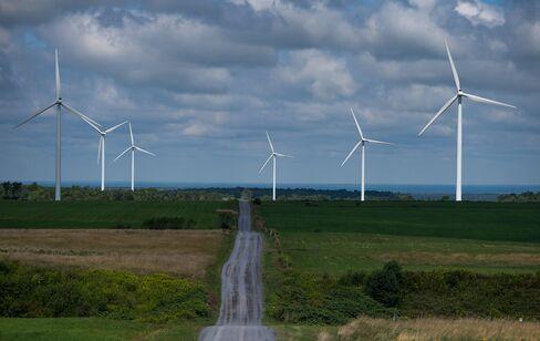Turbines Stand at a Wind Farm