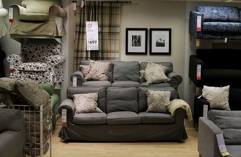 Sofas are Displayed Inside an Ikea Store