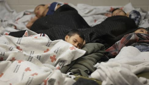 Detainees at U.S. Border Protection Holding Cell