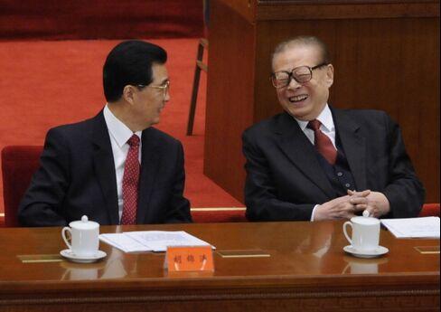 Chinese President Hu Jintao and Former President Jiang Zemin