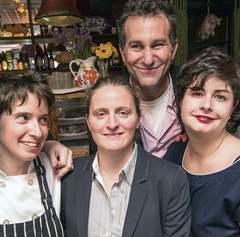 From left, The Spotted Pig's Katharine Marsh, chef-owner April Bloomfield, partner Ken Friedman and The Breslin's Christina Lecki. Along with The Pig and The Breslin, Bloomfield and Friemdan also run Cafe Tosca, The John Dory and Salvation Taco. Source: The Spotted Pig via Bloomberg