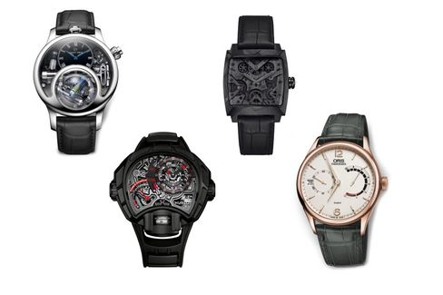 From left: Jaquet Droz The Charming Bird, Hublot MP-12 Key of Time Skeleton, TAG Heuer Monaco V4 Phantom, Oris Calibre 111