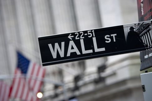 A Sign for Wall Street Sits in Front of NYSE