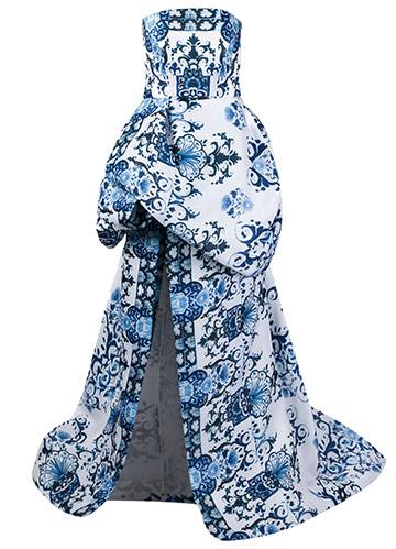 A $6,800 Monique Lhullier silk evening dress.