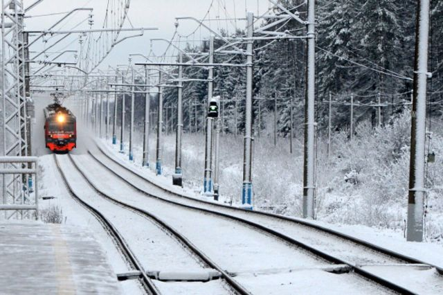 Train, snow, but not Portugal. Close enough? Photographer KIRILL KUDRYAVTSEV/AFP/Getty Images.
