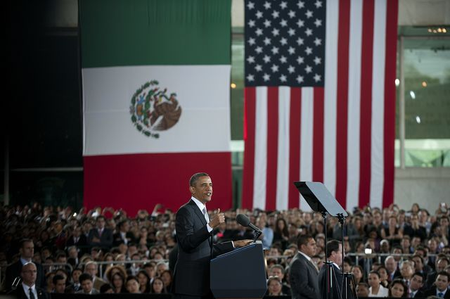 President Obama delivers a speech in Mexico City on May 3, 2013.Photographer: Yuri Cortez/AFP/Getty Images